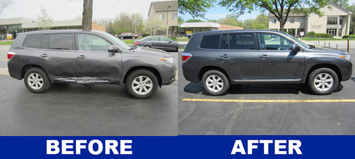 Before and after side view of Toyota Highlander collision repair from DG Auto