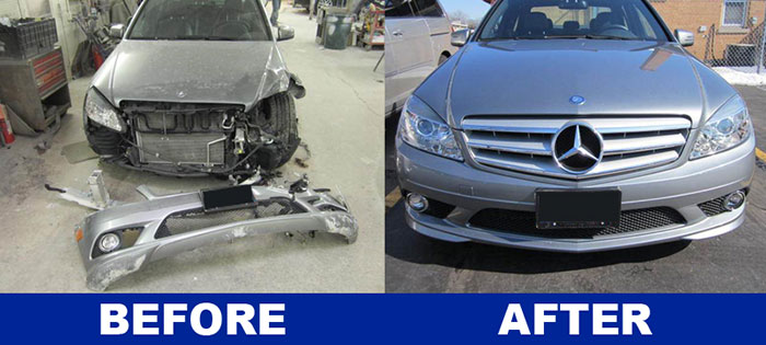 DG Auto's before and after pictures of a Mercedes collision repair