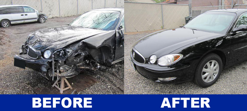 Before and After Graphic of Buick Lacrosse CX Repair