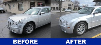 Chrysler 300 collision repair job by the technicians at DG Auto Rebuilders