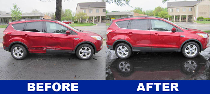 Side by side pictures of Ford Escape collision repair before and after