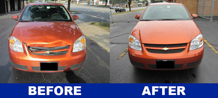 Collision repair Chevy Cobalt project completed by Downers Grove Auto Rebuilders