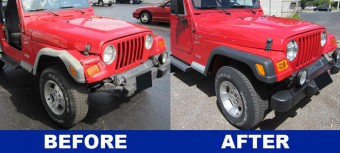 Bright red Jeep Wrangler auto repair with front end before and after pictures