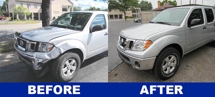 Before and after images of Nissan Frontier repair by Downers Grove Auto Rebuilders