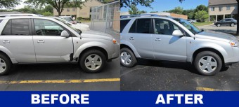 Before and after pictures of vue made by Saturn collision repair