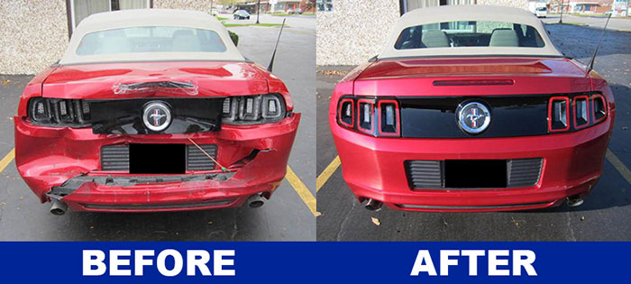 Front end of red Ford Mustang repair by Downers Grove Auto Rebuilders