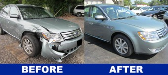 Side view of Ford Taurus repair both before and after