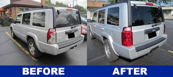 Jeep Commander auto repair before and after pictures of back end
