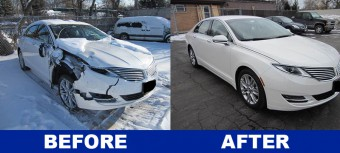 Before and after photos of Lincoln MKZ repair on front end