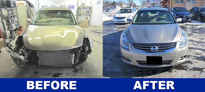 Before and after image of Nissan Altima collision repair performed by DG Auto Rebuilders